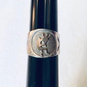 Hopi Signet Ring SS with Brass Kokopeli size 7.5